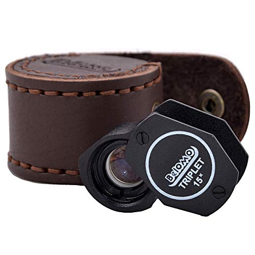 BelOMO 15x Triplet. Jewelers Loupe Magnifier with LEATHER CASE. Glass Foldable Loupe for Gems, Jewelry, Coins, Trichomes and Stamps. Anti-Reflection Coating for a Bright, Clear and Color Correct View.