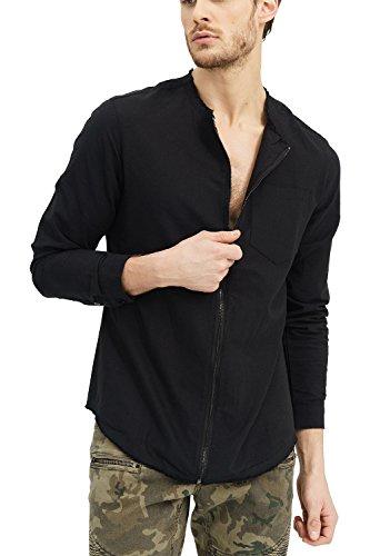 trueprodigy Casuale Uomo Camicia Uni Semplice, Abbigliamento Urban Moda Collo Coreana (Manica Lunga & Slim Fit Classic), Shirt Moda Vestiti Colore: Nero 2073104-2999-XXL
