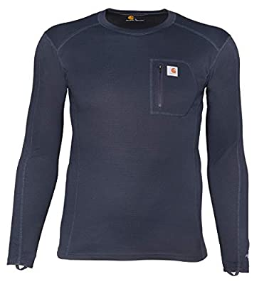 Carhartt Men's Force Midweight Tech Thermal Base Layer Long Sleeve Shirt, Navy, Medium