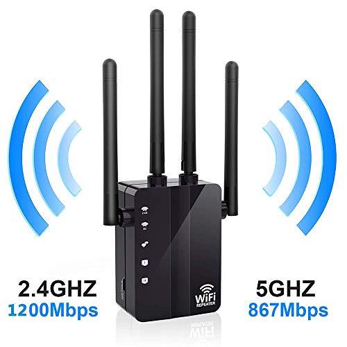 Happon WLAN-Repeater, WiFi-Verstärker AC, 1200 Mbit/s, kabelloser AP Router, Reichweitenverstärker, Schwarz