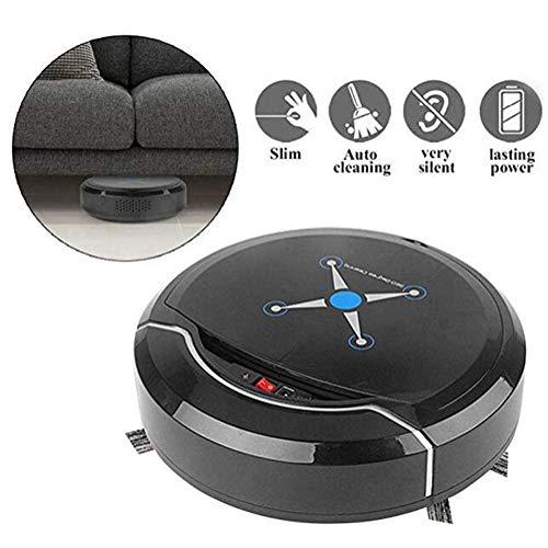 LG&S Roboter-Staubsauger, Starke Saugleistung Automatischer intelligenter Reinigungsroboter für Haushalts-Teppichfliesen-Haustier-Haarpflege,Schwarz