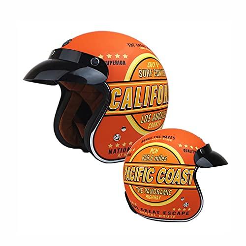 Casco Jet Casco De Media Carcasa Certificado Dot/ECE Casco Abierto Unisex Cruiser Chopper Ciclomotor Ciclomotor Piloto Scooter Bicicleta Retro Harley 3/4 Casco De Motocicleta