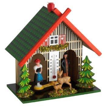 klimakurt Wetterhäuschen mit Mann und Frau aus Holz mit Temperaturanzeige incl. Gratis Stableuchte