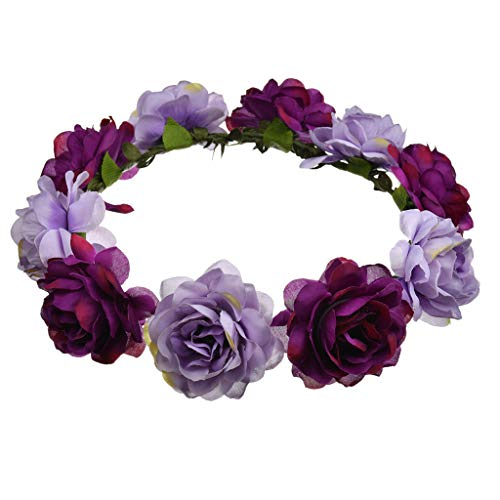 WDFVGEE - Guirnalda de playa bohemia para mujer, color de contraste, corona de rosas artificiales, corona de pelo, boda, fiesta, 6 colores, decoración de pared