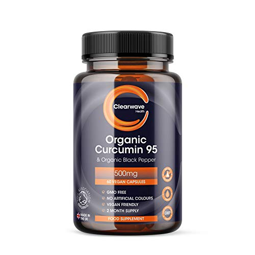 Organic Curcumin 95 with Black Pepper - Containing ONLY Organic Curcumin (the active component of Turmeric) - 500mg Curcumin - 60 Capsules - Made in The UK