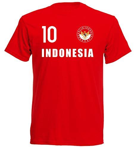 Nation Camiseta de Indonesia con escudo del FH 10 RO rojo L