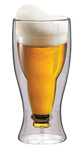 Maxxo Doppelwandiges Bierglas 500 ml Umgestülpte Bierflasche im Glas Ideal als Geschenk