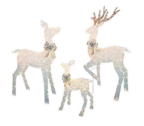 "Large 3-Piece LED Lighted Holiday Deer Family - 60"" Buck, 52"" Doe & 28"" Fawn - 360 Clear LED Lights"