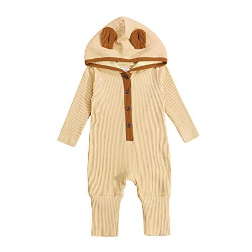 Likeu Mono unisex para recién nacido, de manga larga, de punto acanalado, con capucha, botón UpOnesie, albaricoque, 6 mes