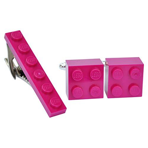 Juego de gemelos y clip de corbata hechos a mano de Lego Ladrillos (rosa oscuro-magenta) para boda, novio, hombre, bolsa de regalo
