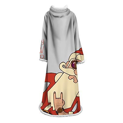 FUFU Manta navideña Sherpa, manta polar de lujo con mangas para adultos, hombres y mujeres, elegante, acogedora, cálida, extra suave, felpa, funcional, ligera, para exteriores