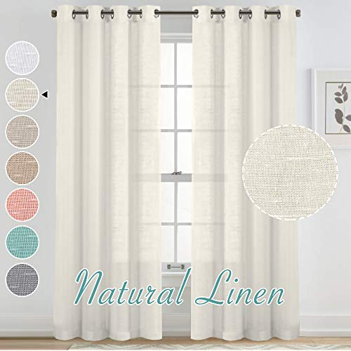 Natural Linen Blended Curtains for Living Room Textured Open Weave Linen Semi Sheer Curtain Drapes for Bedroom, Privacy and Light Filtering, Grommet Top Window Treatment 2 Panels (52 x 95 Inch, Ivory)