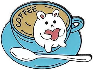 Serie de temas de café pines de esmalte suave taza personalizada gatos broches de animales insignias de dibujos animados P...