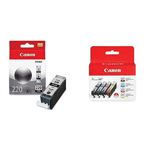 Canon PGI-220 Ink Tank in Retail Packaging-Black and CLI-221 Four Color Pack Canon CLI-221 Four Color Pack Compatible to MP980, MP560, MP620, MP640, MP990, MX860, MX870, iP4600, iP3600, iP4700