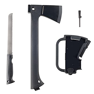 Wakeman Outdoors Camping Hand Axe and Accessories Combo - Lightweight Hatchet with Nested Serrated Wood Saw and Magnesium Fire Starter Tool