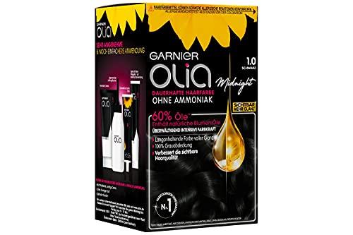 Garnier Olia Haar Coloration Schwarz 1.0 / Färbung für Haare enthält 60% Blumen-Öle für intensive Farbkraft - Ohne Ammoniak - 3 x 1 Stück