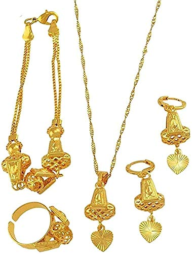 DUEJJH Co.,ltd Collar Corazón Collar Conjunto de Joyas Collar U0026 Colgante Pulsera Pendientes Anillo Cadena de Color Dorado Mujeres Conjunto de Regalo romántico Collar árabe Africano con 60Cm Cha