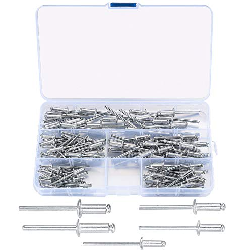 120 Stück Popnieten Sortiment, sortierte Flansch-Aluminium-Blindnieten mit Aufbewahrungsbox, 3,2 mm, 4 mm, 5 mm Kopfnieten für Metall, Holz, Kunststoff