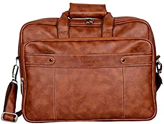 Medlar 15.6 Inch Laptop Formal Office Messenger Briefcase Bag With Padded Laptop Compartment For Men & Women (Tan Brown)