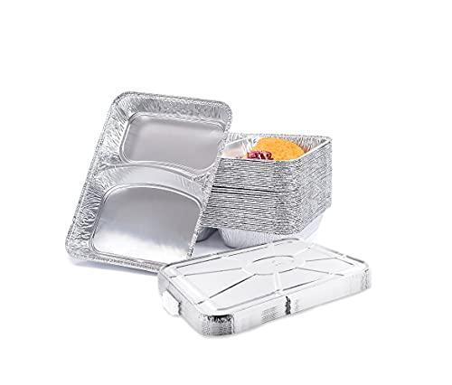 CONTITAL Contenitori in Alluminio R880G con coperchio, 2 Scomparti, Vaschette monouso, Linea Professionale - 50 pezzi - ideali per take-away e asporto