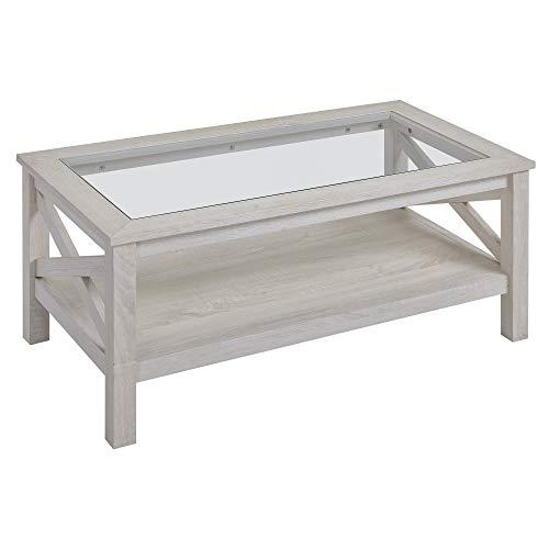 homcom Tavolino da Salotto con Ripiano in Vetro Temperato e Mensola, Struttura in MDF, 100x55x45cm, Quercia Bianca