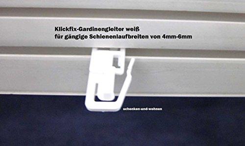 Porschen 20 Stück Klickfix - Gardinengleiter für gängige Schienenlaufbreiten 4mm - 6mm