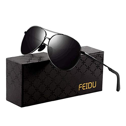 Sonnenbrille Herren Polarisierte Sonnenbrille Damen - Metallrahmen Polarisiert Brille Herren Fahren Unisex UV400 (1-schwarz/schwarz, 2.28)