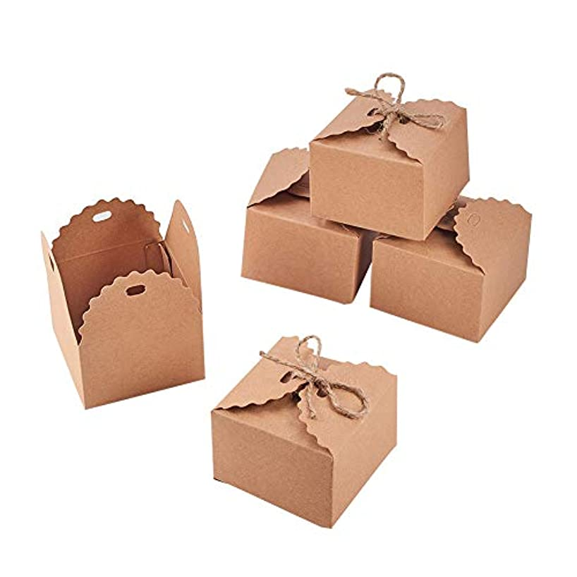 NBEADS 30 Pack Kraft Gift Boxes 2.56 x 2.56 Inch, Gift Wrapping Paper Boxes with Hemp Rope and Tags for Wedding Decoration, Baby Shower, Candy Packaging and Birthday Party Supplies