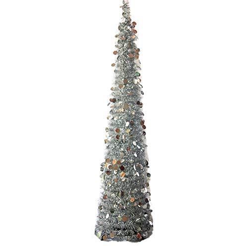 BESTOYARD Alta Plastica Pieghevole Telescopico Albero Di Natale Partito Home Decor 150 Cm 1 Pezzi (Argento)