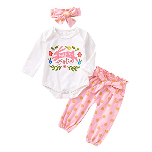Baby Girl Happy Easter Outfits Infant Bunny Print Long Sleeve Bodysuit+Dot Pants+Headband 3Pcs Clothes (Pink, 6-12 Months)