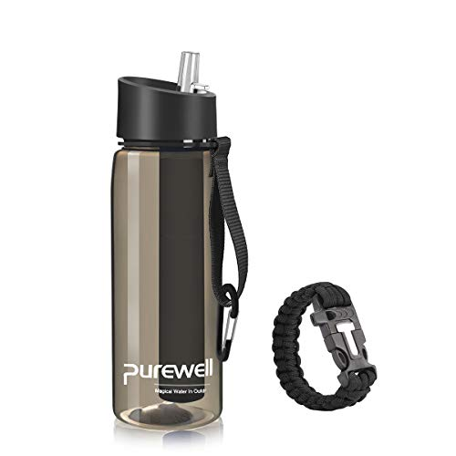 Purewell Filter Water Bottle BPA Free with 4-Stage Intergrated Filter Straw for Camping, Hiking, Backpacking and Travel Black