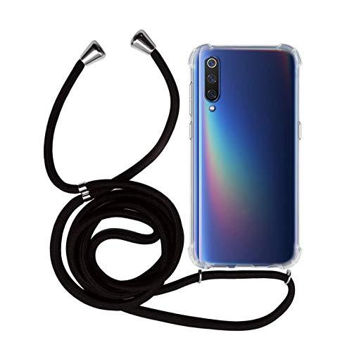 MyGadget Funda Transparente con Cordón para Xiaomi Mi 9 - Carcasa Cuerda y Esquinas Reforzadas en Silicona TPU - Case y Correa - Negro