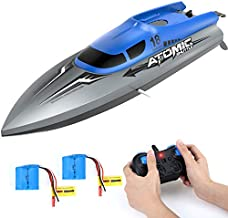 RC Boat for Kids and Adults,EACHINE EB02 Remote Control Boat for Pool and Lake Speed up to 30+ KPH with 2 Rechargeable Battery 40 Mins Usage Time, Capsize Recovery, Remote Control Boat for Boys 8-12