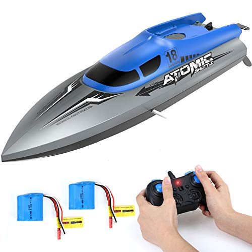 RC Boat for Kids and AdultsEACHINE EB02 Remote Control Boat for Pool and Lake Speed up to 30 KPH with 2 Rechargeable Battery 40 Mins Usage Time Capsize Recovery Remote Control Boat for Boys 812