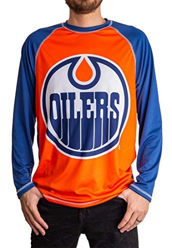 NHL Mens Performance Long-Sleeve Rash Guard (Edmonton Oilers, Medium)