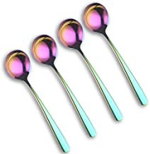 18/10 Stainless Steel Spoons, Titanium Plated Flatware Food Grade spoon Thicken Soup spoon a set of 4 Spoons (rainbow)