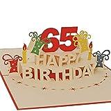 Favour Pop Up carte de vœux d'anniversaire 65 ans rond.