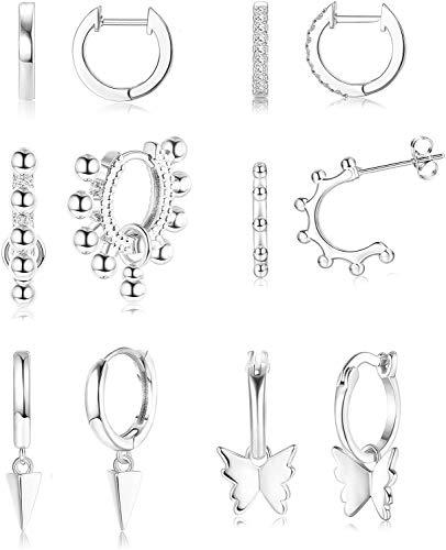 Milacolato 6Pairs Dainty Cubic Zirconia Ball Huggie Hoop Earring for Women CZ Cuff Huggie Earrings Stud Butterfly Geometric Triangle Cone Dangle Earrings for Women Men