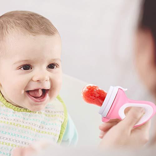 DIAOCARE Fruchtsauger,Silikon Sauger in 3 Größen und Schnullerband,BPA-frei,Schnuller Beißringe für Obst Gemüse Brei Beikost,Fruchtsauger für Baby & Kleinkind (Pink) - 5