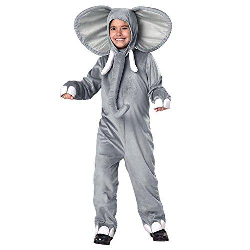 YFCH Traje de Disfraz Animal para Niños Niñas Pijama de Una Pieza con Capucha para Festival de Carnaval Halloween Navidad, Elefante, S/Altura: 80-90cm