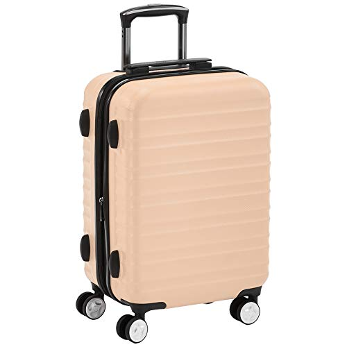 AmazonBasics Premium Hardside Spinner Suitcase Carry-On Luggage with Wheels - 20-Inch, Pink