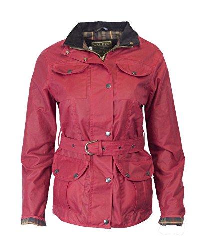 Walker & Hawkes - Chaqueta encerada para mujer (cinturón y 4 bolsillos, talla 34-44), color rojo