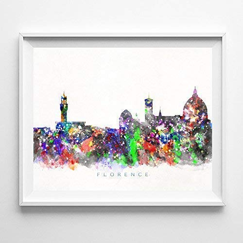 Florence Italy Watercolor Skyline Poster Cityscape Wall Art Print Home Decor Watercolour Artwork - Unframed