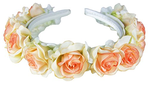 Trachtenland Romantischer Blumen Haarreif mit Rosen Creme Apricot - Zauberhafter Haarschmuck zum Dirndl, für Hochzeiten und Kommunion