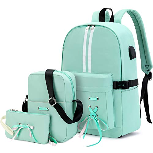 CAMTOP Teen Girls Backpack for School, Kids Bookbag with Lunch Bag,USB Charging Port Schoolbag for Elementary Middle School Student (Y9149-3 / Mint Green)