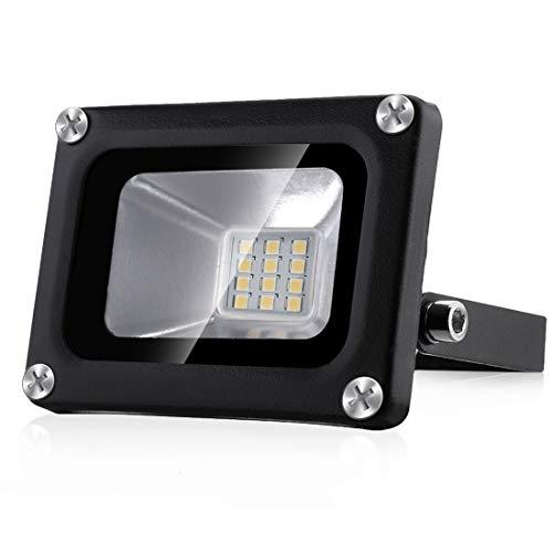 10W Foco Exterior LED IP65 Impermeable 12V Proyector LED Exterior 1000LM 3000K Luz Calida Luz de seguridad LED Floodlight para Jardín Garaje Patio Porche Césped[Clase de energía A +]