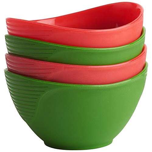 Trudeau (4) pinch bowls, Red/Green