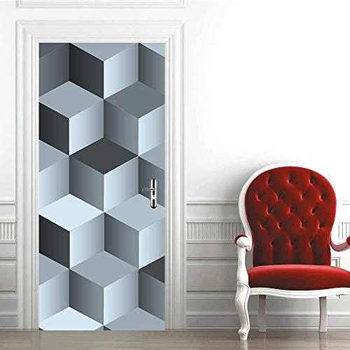 Decorazione per Porte quadrate 3D PVC Soggiorno Camera da Letto Adesivi per Porte autoadesivi Impermeabili Adesivi murali per ristrutturazione 30x78inx2pcs