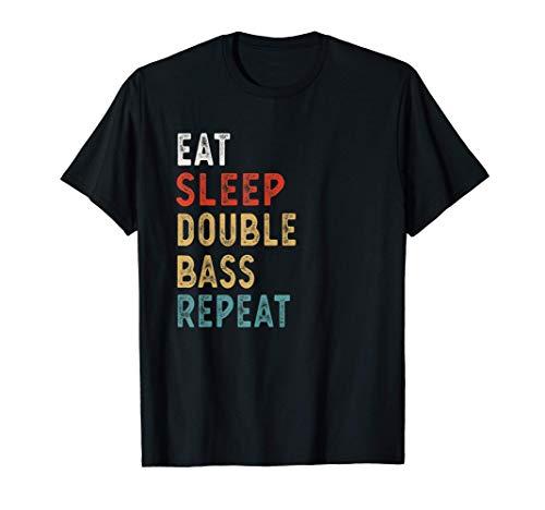 Vintage Eat Sleep Contrabajo Repetir Divertido Contrabajo re Camiseta