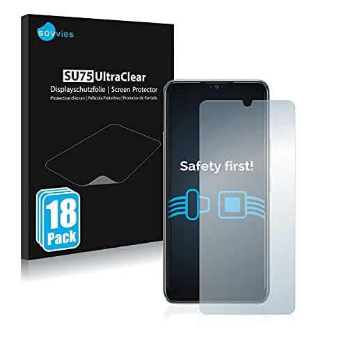 Savvies 18x Schutzfolie kompatibel mit Vivo Y70 Bildschirmschutz-Folie Ultra-transparent